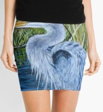 Great Blue Heron on wood block  Mini Skirt