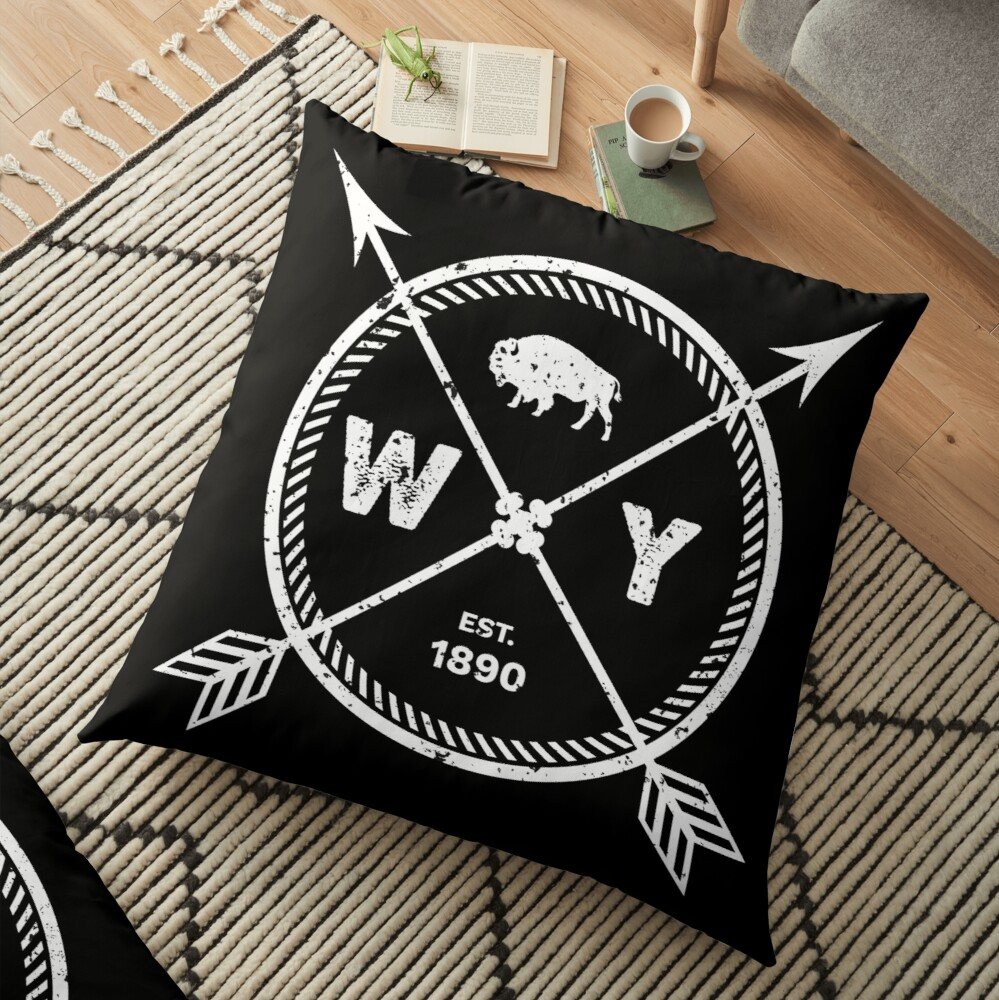 Wyoming Pride Gift - Est 1890 Arrows State Buffalo | Floor Pillow