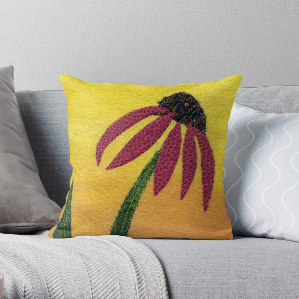 Coneflower quilted Throw Pillow