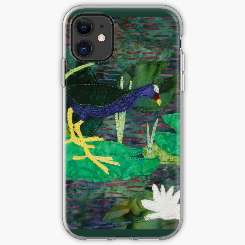 Purple Gallinule in on lily pads iPhone Soft Case