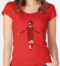 Mo Salah Illustration - LFC Liverpool FC Gift - Art - Poster - Print - Clock - T-Shirt - Tee Women's Fitted Scoop T-Shirt