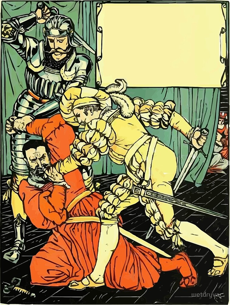 The Sleeping Beauty Picture Book Plate - Bluebeard - The Cut The Murderer Down by wetdryvac