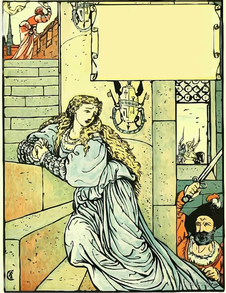 The Sleeping Beauty Picture Book Plate - Bluebeard - Come Down, Time Is Up by wetdryvac