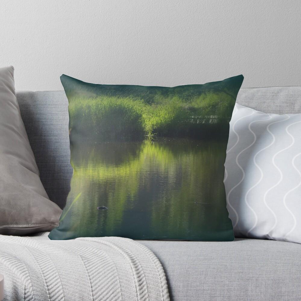 turtle swimming away at Trojan pond, near Goble, Oregon Throw Pillow