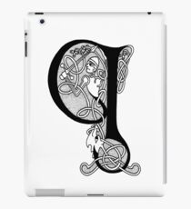 Knight and Dragon Alphabet - Q - black and white iPad Case/Skin