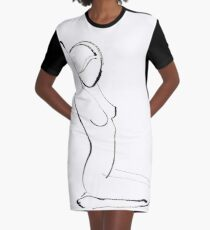 Nude Model Drawing Graphic T-Shirt Dress