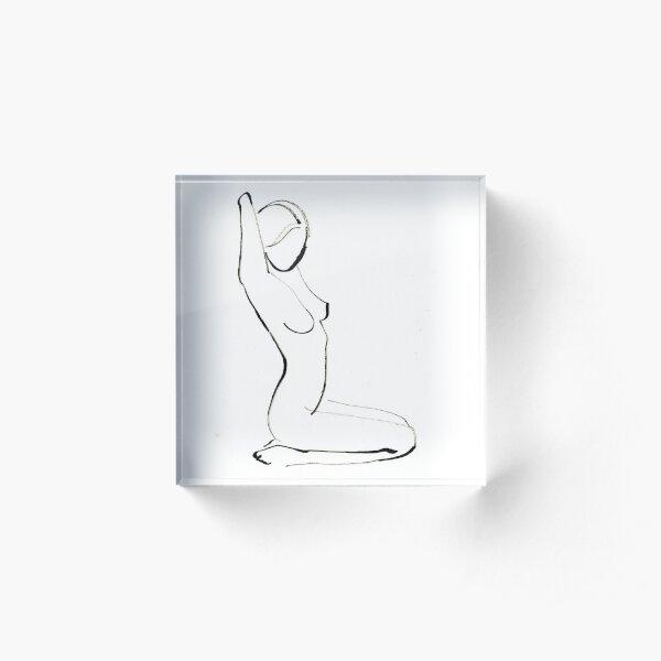 Nude Model Drawing Acrylic Block
