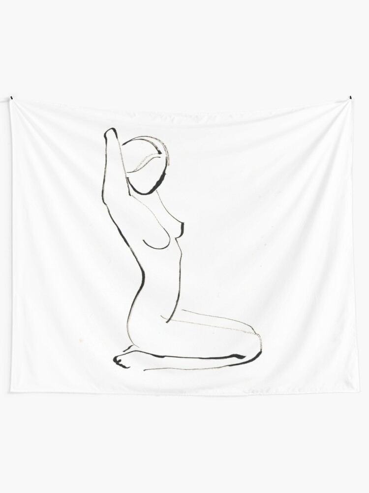 Alternate view of Nude Model Drawing Wall Tapestry
