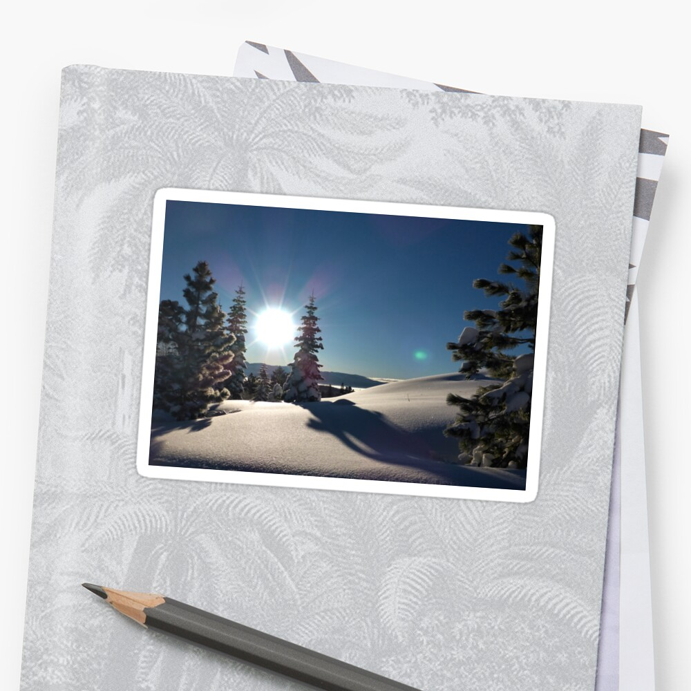 Sunrise Over Snowy Mountains Sticker