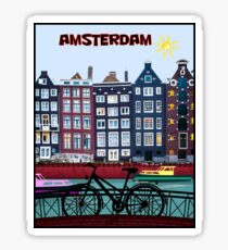 BICYCLE RIDING; In Amsterdam Holland Print Sticker