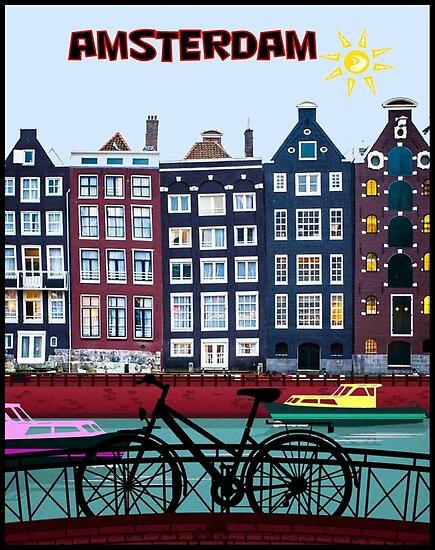 FAHRRAD FAHREN; In Amsterdam Holland Drucken von posterbobs