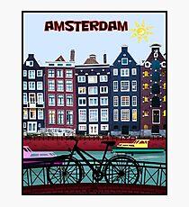 Lámina fotográfica MONTAR EN BICICLETA; En Amsterdam Holanda Imprimir