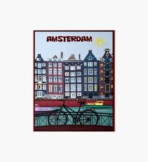 BICYCLE RIDING; In Amsterdam Holland Print Art Board