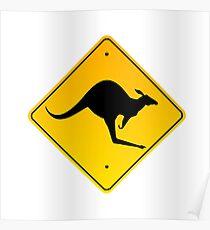 Danger Kangaroos Yellow Sign Poster