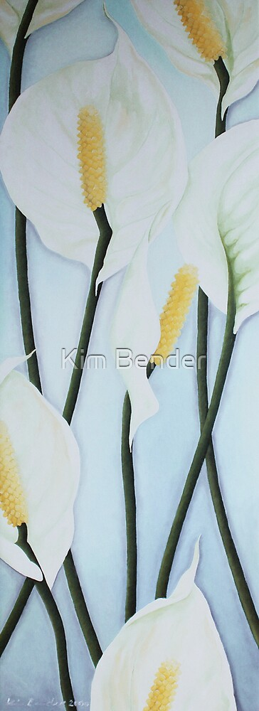 Seven Peace Lilies on blue Wall by Kim Bender
