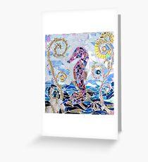 Seahorse Mosaic Greeting Card