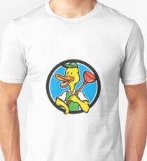 Duck Plumber Holding Plunger Circle Cartoon Unisex T-Shirt