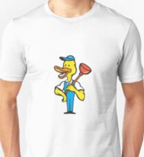 Duck Plumber Plunger Standing Cartoon T-Shirt