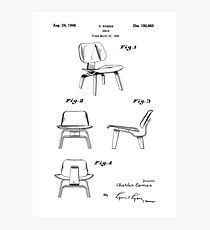 Iconic Eames LCW Molded Plywood Chair Patent Drawings Photographic Print