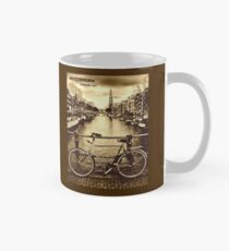 AMSTERDAM : Vintage Freedom City Bicycle Riding Print Mug