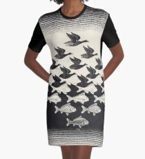 Sky and Water I - Maurits Cornelis Escher Graphic T-Shirt Dress