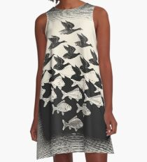 Himmel und Wasser I - Maurits Cornelis Escher A-Linien Kleid