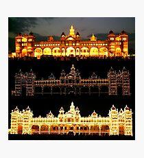 Three Illuminations Of Mysore Palace, India Photographic Print