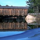 """Icy Waters at """"County"""" Covered Bridge by Len Bomba"""