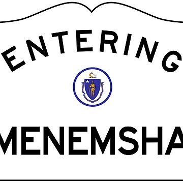 Entering Menemsha Massachusetts - Martha's Vineyard - Road Sign by NewNomads
