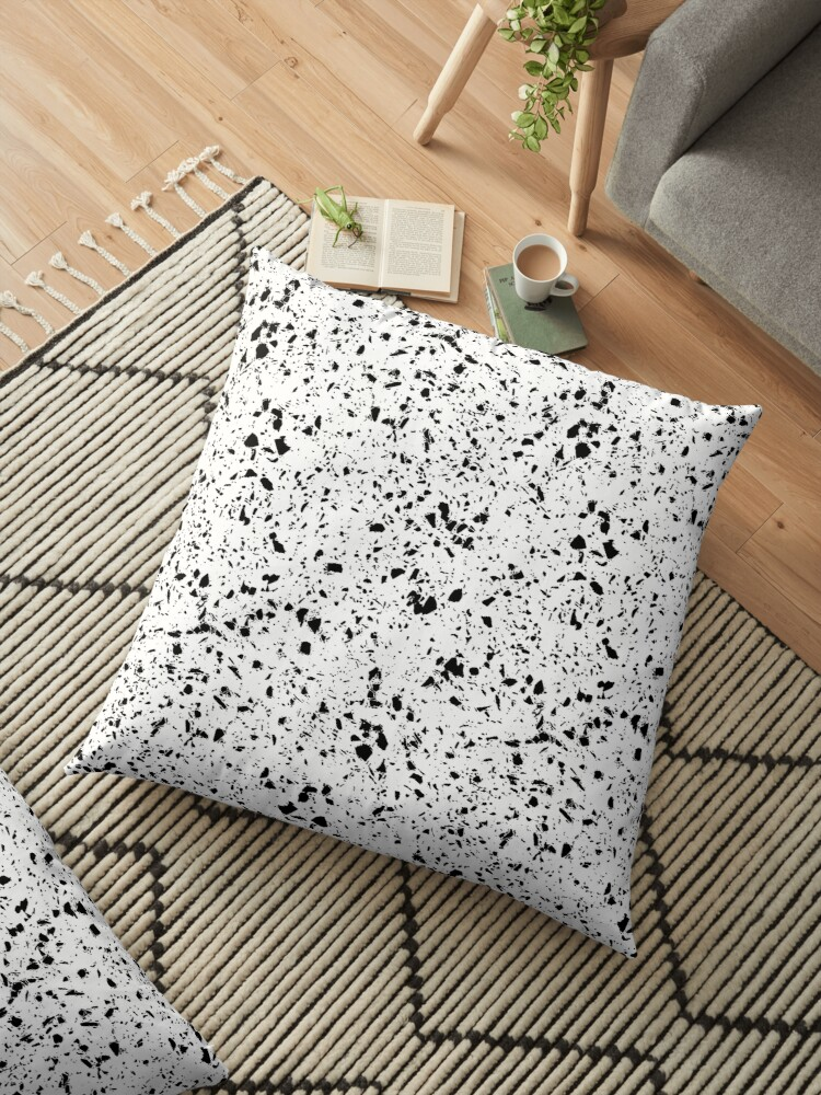 Classy Vintage Marble Terrazzo Monochrome Design Floor Pillow By Inovarts