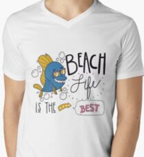 Beach life is the best T-shirt design , Unisex tees  Men's V-Neck T-Shirt