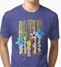 Cut n Paste Flowers Tri-blend T-Shirt
