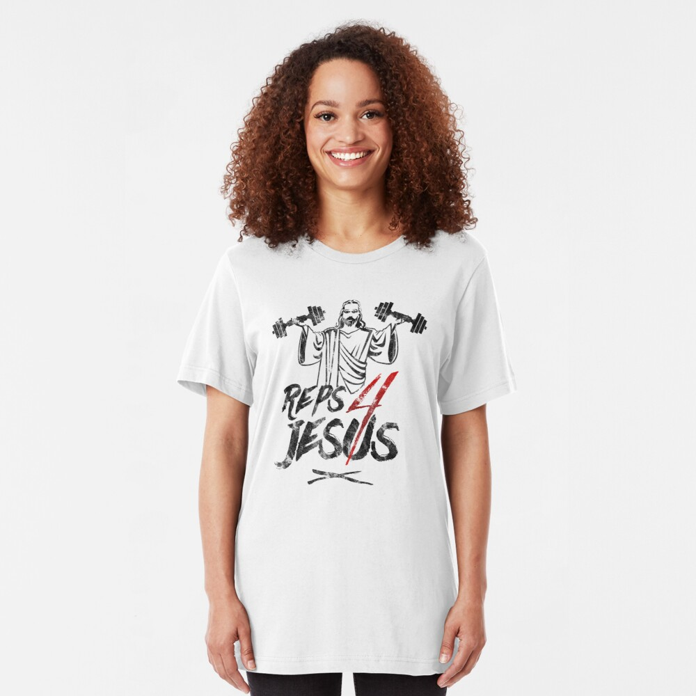 Reps For Jesus Funny Workout Jesus Gym   Slim Fit T-Shirt