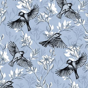 Flowers and Flight in Monochrome Blue Purple by micklyn