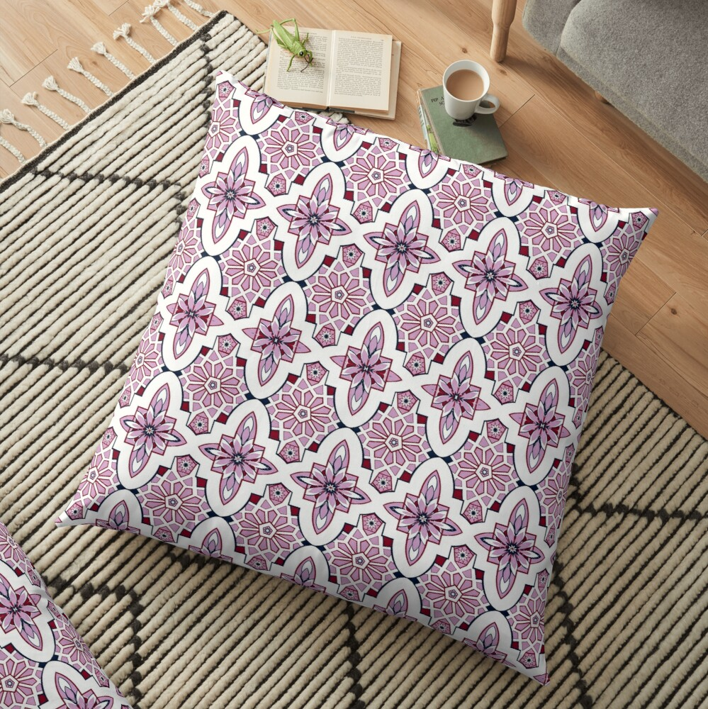 Lavender Moroccan floral with burgundy and navy Floor Pillow