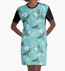 Flowers and Flight in Monochrome Teal Graphic T-Shirt Dress