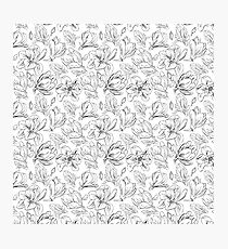White Magnolias | Delicate Hand-Drawn Floral Pattern Photographic Print