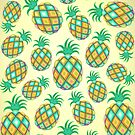Pineapple Pastel Colors Juicy Pattern by BluedarkArt