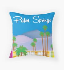 Palm Springs, California - Skyline Illustration by Loose Petals Throw Pillow