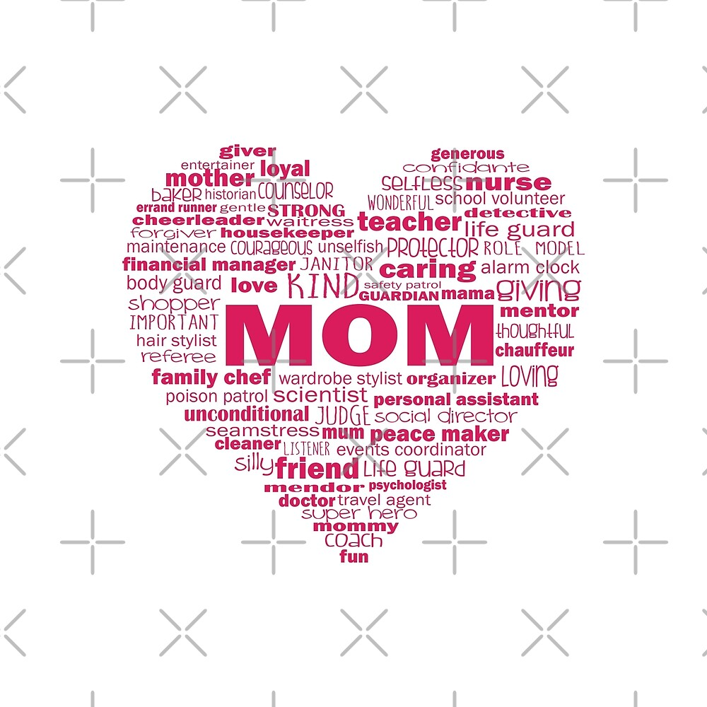 Mom - Words About Mom Heart Pink by jitterfly
