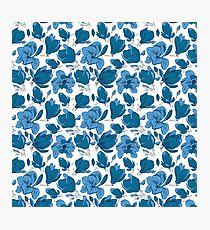 Blue Magnolias | Delicate Hand-Drawn Floral Pattern Photographic Print
