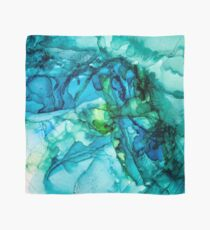 Blue Green WaterColor Abstract.  Scarf
