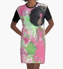 Dripping in Pink and Green Angel Graphic T-Shirt Dress