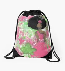 Dripping in Pink and Green Angel Drawstring Bag
