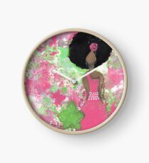 Dripping in Pink and Green Angel Clock