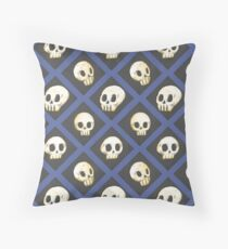 Tiling Skulls 4/4 - Blue Throw Pillow
