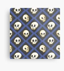 Tiling Skulls 4/4 - Blue Metal Print