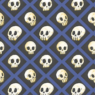 Tiling Skulls 4/4 - Blue by Foss