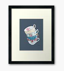 Lean on Me in Navy   Teacup Painting Framed Print