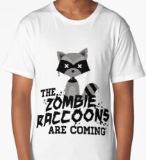 Funny Cute Distressed Zombie Raccoons Are Coming Pun Sayings Long T-Shirt
